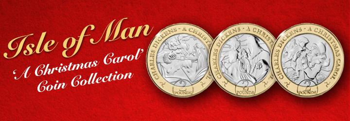 Collezione di tre monete dell'Isola di Man 2020 'A Christmas Carol'