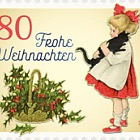 Christmas 2018 – Vintage, Girl with Cat (Roll of 5 Stamps)