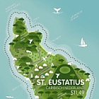 Island Shaped Stamp - St. Eustatius