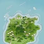Island Shaped Stamp - Saba