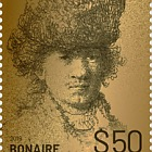 Golden Stamp of Rembrandt of Bonaire