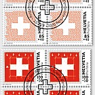 Pro Patria - The Swiss Flag - Block of 4 CTO