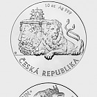 Niue - Silver 10 oz bullion coin Czech Lion 2018 stand