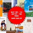 Year Pack Offer 2 - BUY 09 to 13 for 119.30€ & get 97 & 00 FREE! SAVE €60.59!
