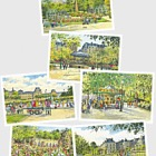 Summer - Squares and Gardens of Paris (Set of six postcards)