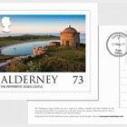Alderney Scenes- FDI 73p postcard (EUR)