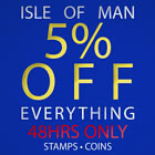 5% Discount on all Isle of Man Stamps & Coins - BLACK FRIDAY OFFER