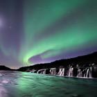 New Postcards 2017 - Aurora Borealis at Hraunfossar waterfalls