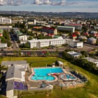 New Postcards 2017 - Reykjavik, Vesturbæjarlaug swimming pool in the foreground
