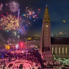 New Postcards 2017 - Reykjavik, New Year's Eve at Hallgrímskirkja