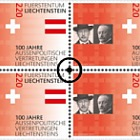 100 Years of Liechtenstein's Foreign Representation - Block of 4 CTO