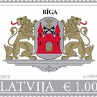 Big Coat of Arms of Riga & Latvia Republic (Re-Print) - Riga Stamp