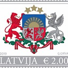 Big Coat of Arms of Riga & Latvia Republic (Re-Print) - Latvia Republic Stamp