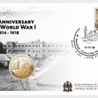 €5 First World War Centenary - Brass Coin in FDC