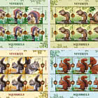 Squirrels - Sheet of 5 stamps + 1 label