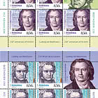 Ludwig van Beethoven, 250th Anniversary of His Birth - Sheet of 5 stamps + 1 label