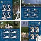 The Danube Delta Swans - Sheet of 4 stamps with Ilustrated Border