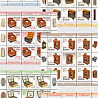 Romanian Collections - Music Boxes - Sheets of 8 Stamps + 1 Label + 6 Tabs Size