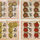 Romanian Postage Stamp Day - Seals Of The Romanian Rulers (II) - Sheets x 5 Stamps + 1 Label