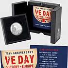 GUERNSEY - 75 ° anniversario di VE Day argento £ 5 Coin