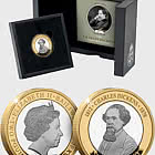 JERSEY - Charles Dickens 150th Anniversary BU £2 - Gold Plated