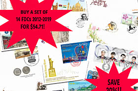 Buy a set of 14 FDC'S from 2012-2019 & SAVE 20% - NOW $54.71! - BLACK FRIDAY OFFER