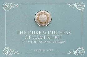 Limited Edition Catherine & William Coloured 50p Coin