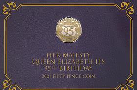 Queen 95th Birthday LTD Coloured 50p Coin