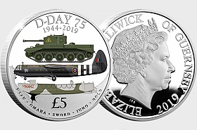 GUERNSEY - The D-Day 75th Anniversary Silver Proof Five Pound Coin