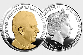 GUERNSEY - HRH Prince Charles 70th Birthday Proof Coin