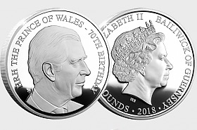 GUERNSEY - HRH The Prince of Wales 70th Birthday Silver Proof Five Pound Coin