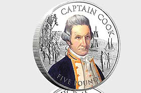 JERSEY -  Captain Cook Silver £5 Coin