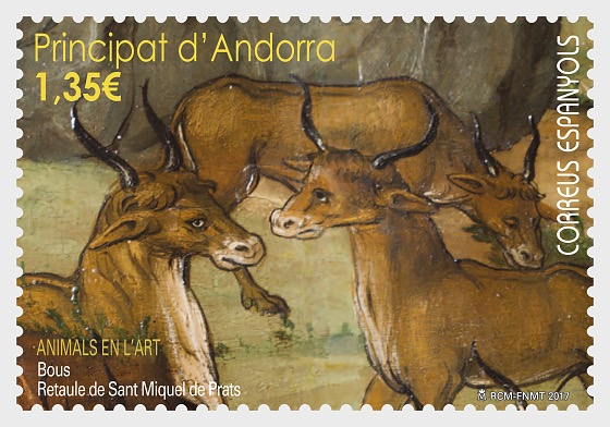 Animals in art - Bulls - Altarpiece of Sant Miquel de Prats - Set