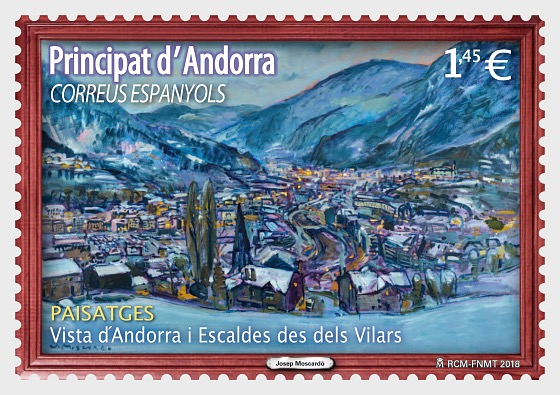 Josep Moscardó - View of Andorra and Escaldes from Vilars - Set