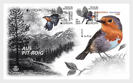 Europe 2019 - Birds - Robin - First Day Cover