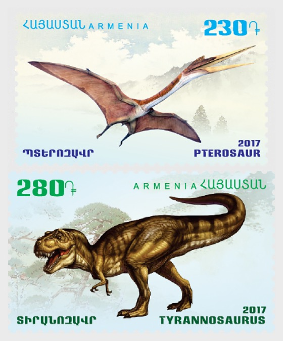 2017 Flora and Fauna of the Ancient World Dinosaurs - Tyrannosaurus & Pterosaur - Set