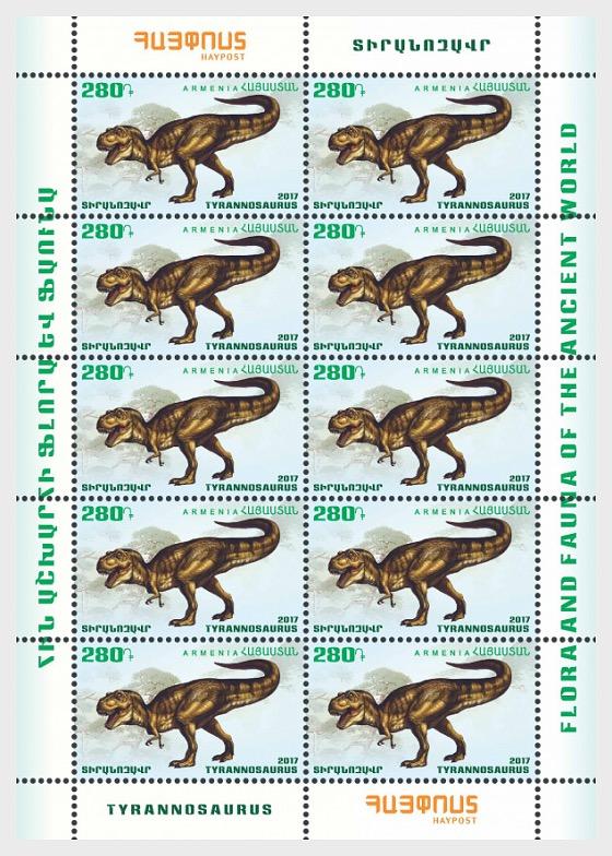 Flora y Fauna del Mundo Antiguo Dinosaurios - Pterosaurio y Tiranosaurio - Mini Hojas
