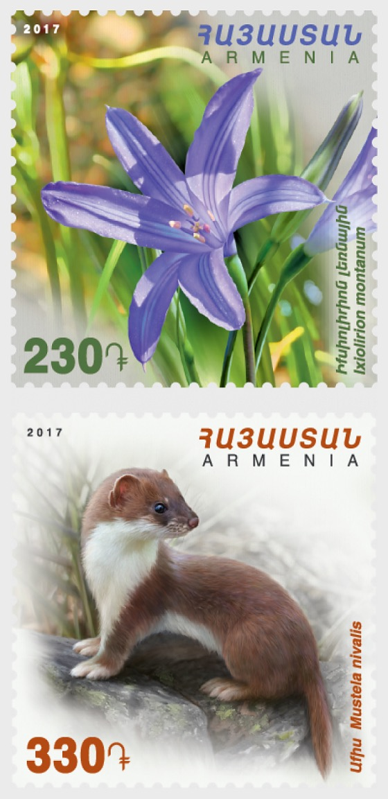 2017 Flora and Fauna of Armenia - Ixiolirion Montanum & Mustela Nivalis - Set