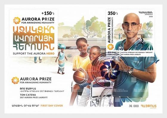 Laureates of Aurora Prize - Tom Catena - Enveloppes de Premier Jour