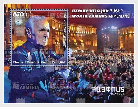 Arménien de Renommée Mondiale - Charles Aznavour - Blocs feuillets