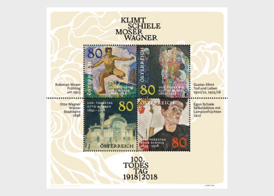 100th Anniversary of the Death of Klimt – Schiele – Moser – Wagner - Miniature Sheet