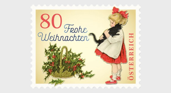 Christmas 2018 – Vintage, Girl with Cat (Comes in a Roll of 5 Stamps) - Set