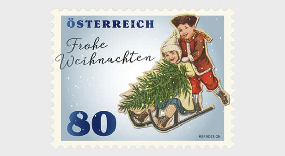 Christmas 2019 - Children with Sledge - Roll of 5 Stamps - Collectibles