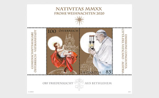 Orf Light Of Peace From Bethlehem – Joint Issue With The Vatican City - Miniature Sheet
