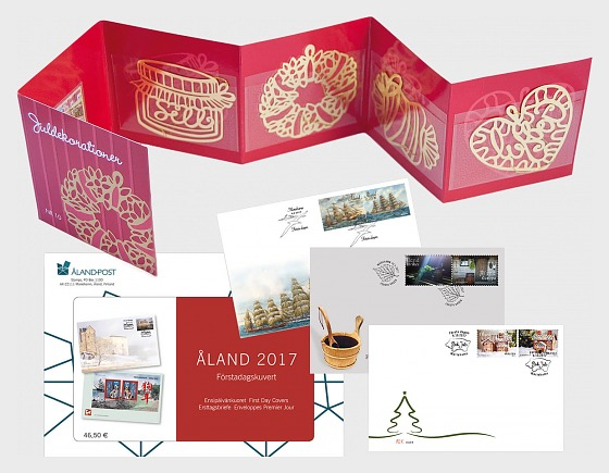 FDC Year Set 2017 + FREE GIFT 4 Golden Christmas Decorations - Annual Product