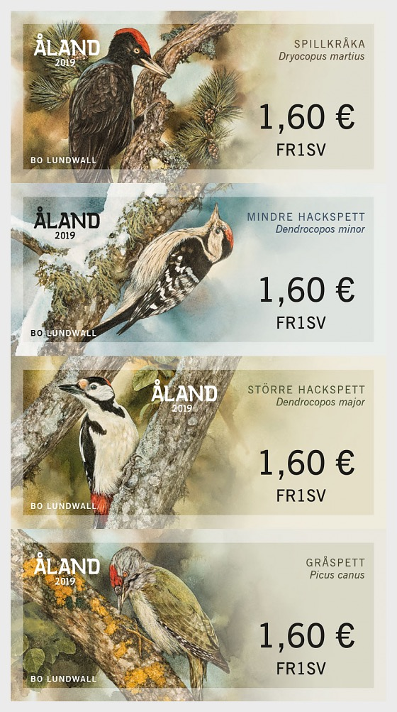 2019 Franking Labels - Woodpeckers - Set