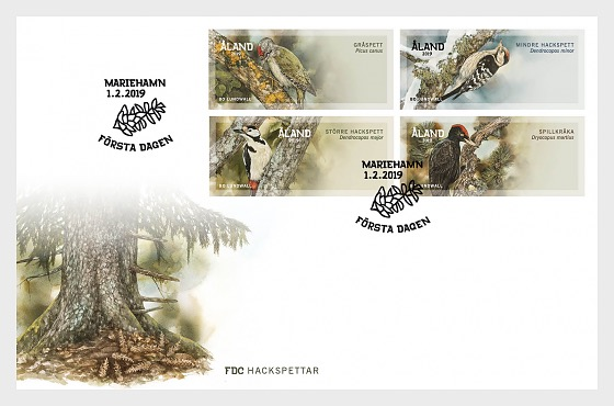 2019 Franking Labels - Woodpeckers - First Day Cover