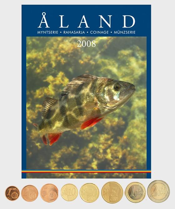 La Finlandia 2008 monete (da Aland) - Moneta anno insieme