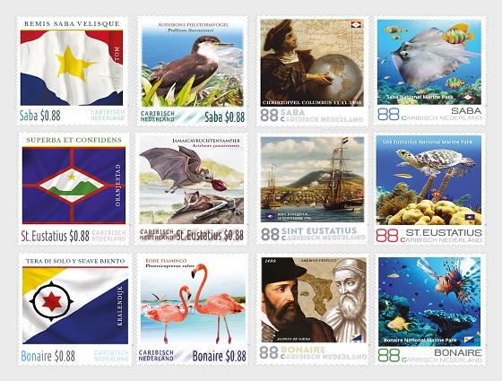 4 of Every Island (Saba, St. Eustatius, Bonaire) 12 Stamps - Set