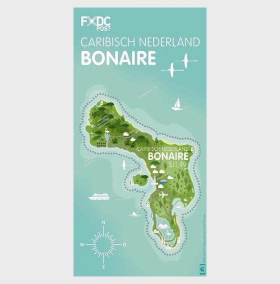 Island Shaped Stamp - Bonaire - Set